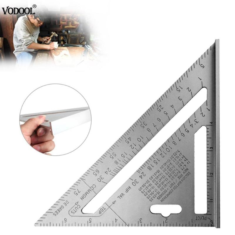VODOOL 7inch Silver Triangle Angle Protractor Ruler Aluminum Alloy Speed Square Roofing Stencils Mesuring Tools School Supplies