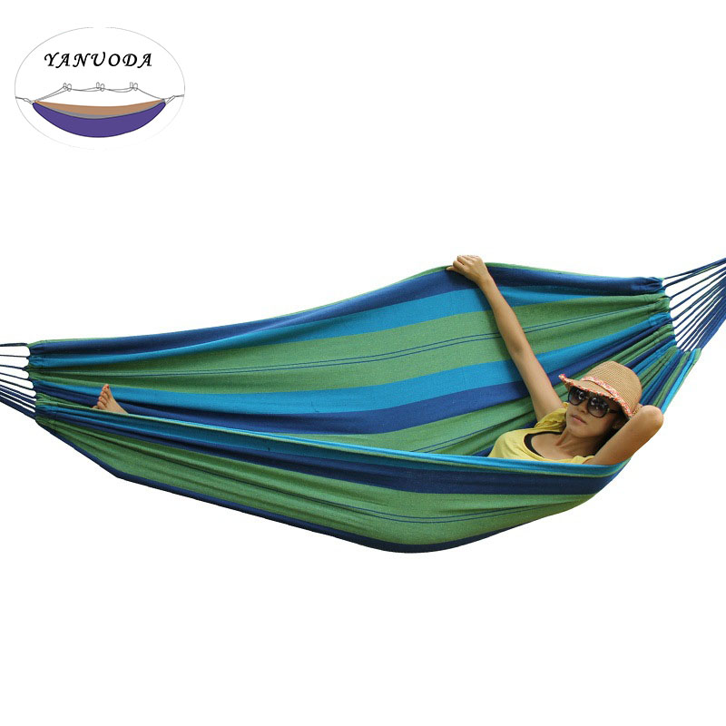 High Strength Portable Hammock 200*150cm Backpacking Hiking Woven Cotton Fabric Tender Green Striped Camping Furniture