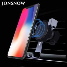 JONSNOW For iPhone X 8 Plus Car Mount Qi Wireless Charger For Samsung S8 S9 Quick Fast Wireless Charging Pad Car Holder Stand