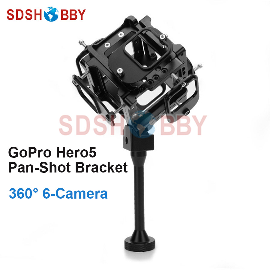 360 720 Degree Panorama Shooting Bracket VR Spherical Video Pan-Shot Panoramic Support for GoPro Hero 5 Available for 6 Hero5 cnc aluminum alloy 360 degree spherical panorama frame mount panoramic for xiao yi vr aerial photography