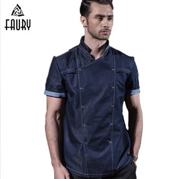 High Quality Chef Uniforms Short Sleeve Men Food Services Kitchen Restaurant Hotel Cooking Clothes Chef Jacket Coat Big Size