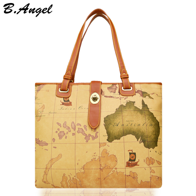 High quality world map women bag fashion handbag high capacity high quality world map women bag fashion handbag high capacity school bags brand design tote bag gumiabroncs Choice Image