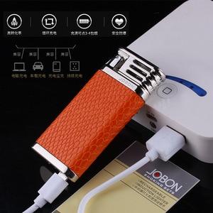 Image 4 - 2018 New Leather USB Thunder Lighter Rechargeable Electronic Cigarette Plasma Double Arc Palse Pulse Gadgets Shake Ignition