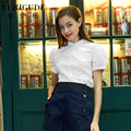 Veri Gude verano manga de soplo del estilo de los lunares camisas mujeres del algodón blusas Slim Fit