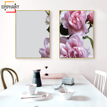 503faba36846 Arte de pared grande moderno impresión botánica carteles florales Boho  decoración rosa flor lienzo pintura pared cuadros para sala de estar