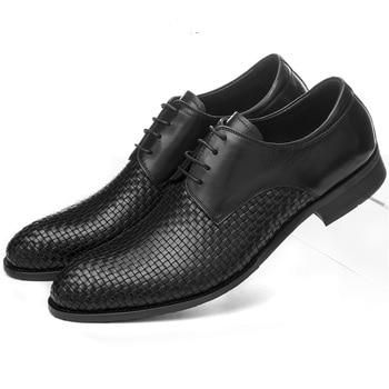 Large Size EUR45 Woven Design Mens Summer Dress Shoes Genuine Leather Wedding Shoes Formal Mens Business Shoes