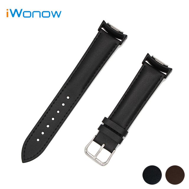 Genuine Leather Watch Band for Samsung Gear S2 R720 R730 Stainless Steel Buckle Wrist Strap Bracelet Black Brown + Adapters