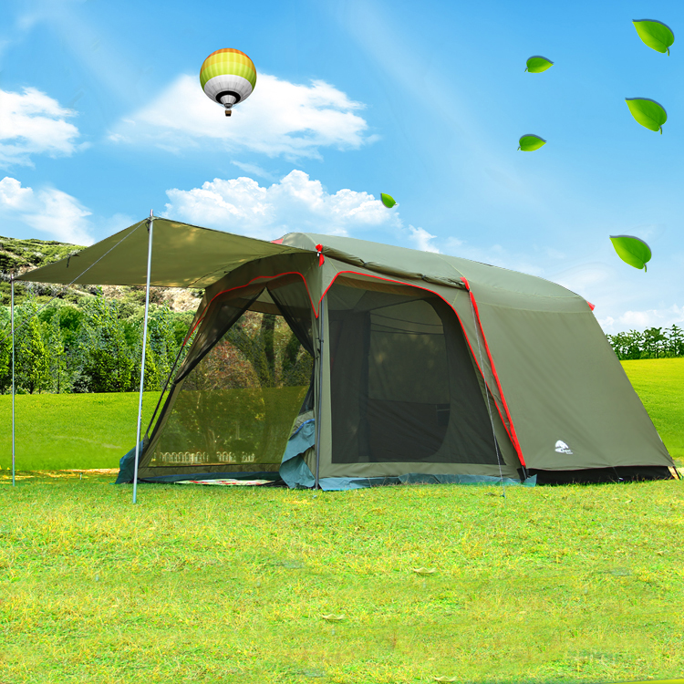 Authentic August 4-8 person outdoor camping 1Hall 1Bedroom anti-rain wind big traveling camping tent in good quality large space super large anti big rain and wind 8 person outdoor tent multi purpose hexagon gazebo large family tent camping pergola