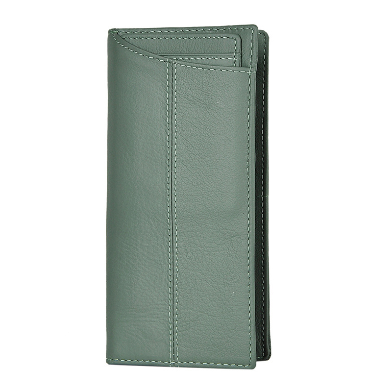 все цены на Handmade Long Wallet Credit Card Holder Purse Genuine Cowhide Leather Clutch Wallet Men'S Multi-Function Bifold Coin Pocket Case онлайн