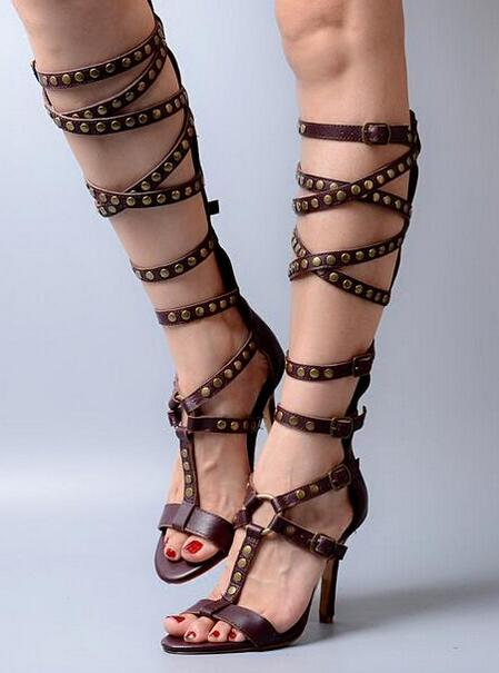 2017 New Fashion Sexy Sandals Genuine Leather Top Quality Brown Women Cross-Tied High Heels Crystal Sandals Ladies Summer Boots
