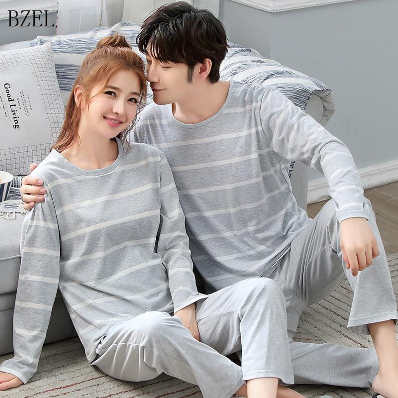 New Couple Pajamas Autumn Men And Women Sleep Striped Pijamas Sleepwear Lover Home Cute Night Suit Sleep Lounge Big Size M-XXXL