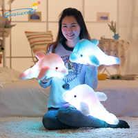 1 Stück 45 cm Kreative Induktion Kissen Leucht Plüsch Bunten Delphin Puppe Glowing Kissen LED-Licht Spielzeug Kinder kinder geschenk