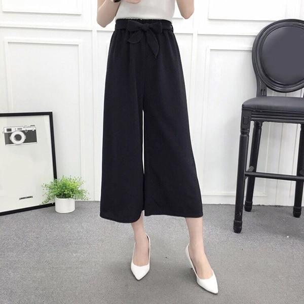 2020 Korean Summer Womens Wide Leg High Waist Casual Fashion Thin Pants Loose Culottes Pleated Pant Trousers Femme