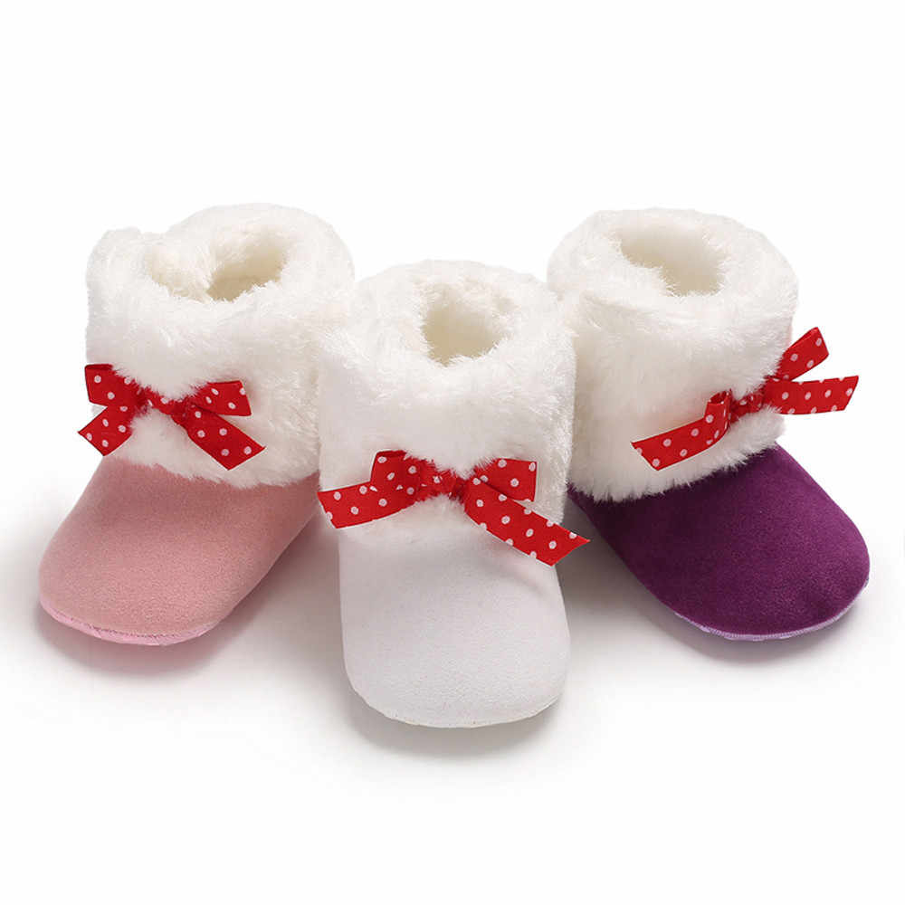 ... Baby Shoes Girl Soft Booties Pink Bow Pure Color Snow Boots Anti-slip  Toddler White ... c0deafa11011