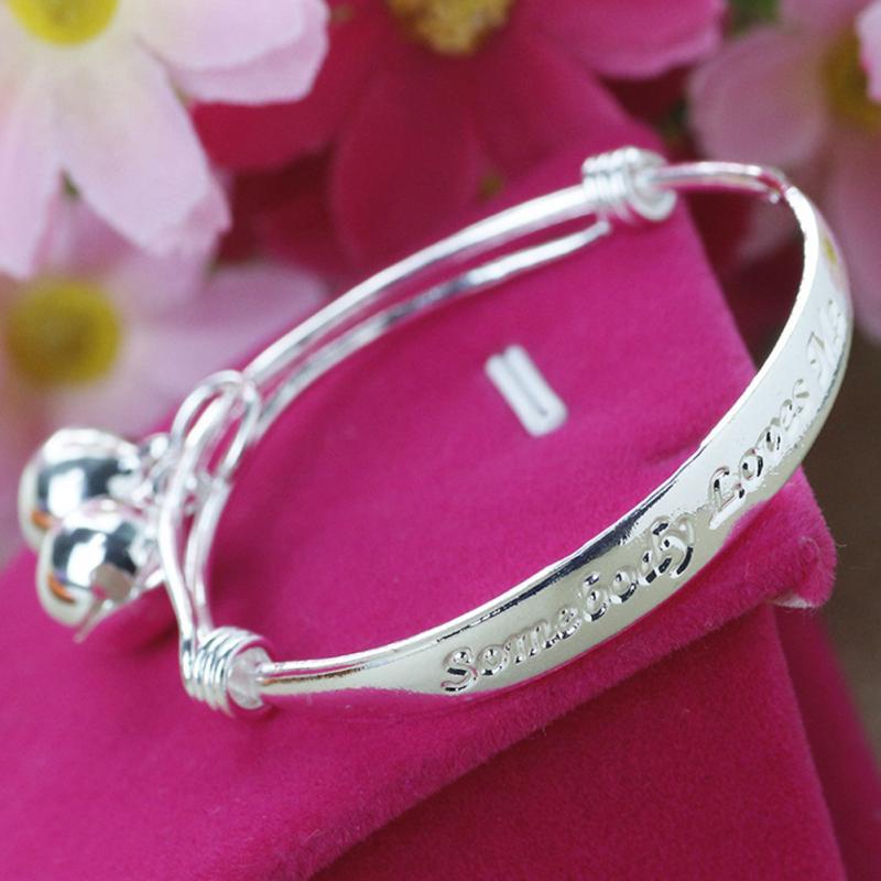 a9eab6ddd3d15 US $2.46 |Baby Bracelet 2pcs 925 baby Kids Bell Bangle Bracelet Jewelry  Cute Child Baby Bell Bangle Bracelet Jewelry For Kids Gift-in Bangles from  ...
