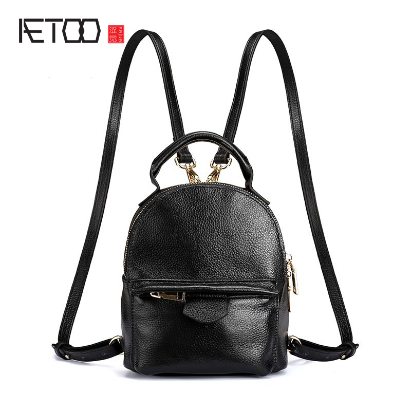 AETOO Ladies fashion Korean version of the leather shoulder bag leisure solid color small bag mini head layer lychee p aetoo the new retro leather fashion trend shoulder bag leather hand rub color women bag college wind korean version of the backp