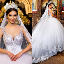 GOOFLORON 2019 Ball Gown Wedding Dresses Sheer Bridal Gowns