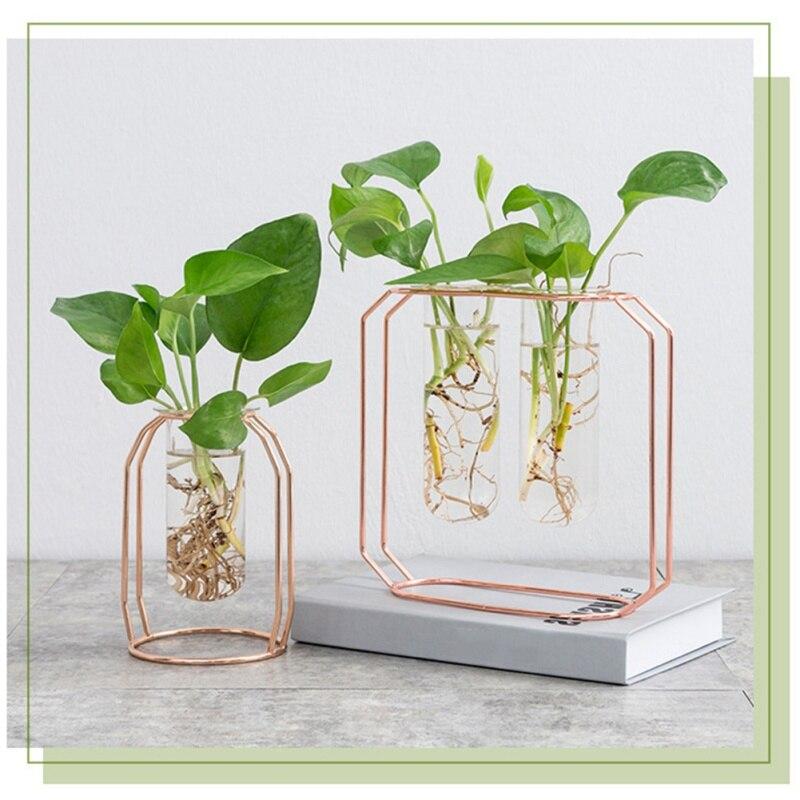 Glass Vase Planter Terrarium Table Desktop Hydroponics Plant Bonsai Flower Pot Hanging Pots with Wooden Tray Home Decor