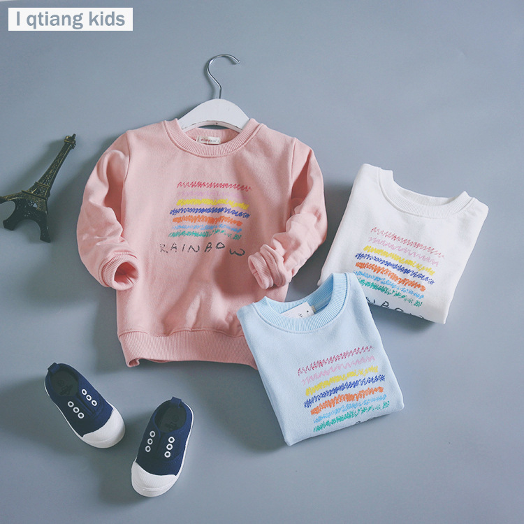 2017 Spring/Autumn New Arrival Baby Girls boys Rainbow print terry sweater cartoon long sleeve T-shirt jerseys baby kids clothes
