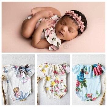 ใหม่! ทารกแรกเกิดการถ่ายภาพ Props ทารกแรกเกิดสาวชุด Bebe Photo Props Romper ดอกไม้ทารกแรกเกิดเสื้อผ้าเด็กผู้...