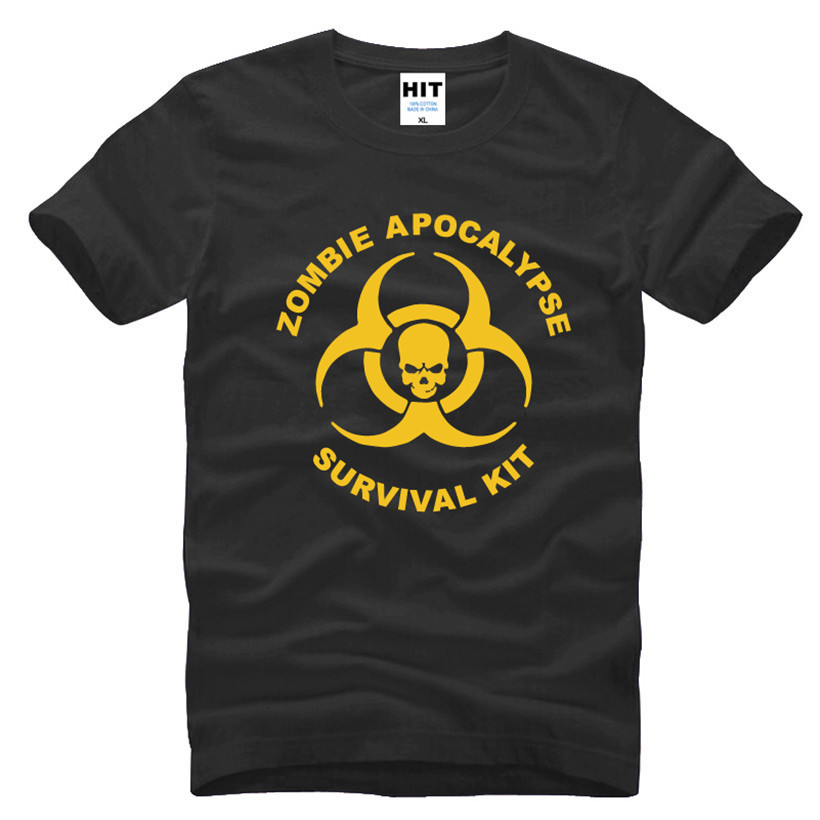 Zombie Apocalypse Survival Kit Skull Printed Mens Men T Shirt Tshirt Fashion 2017 New Arrivals