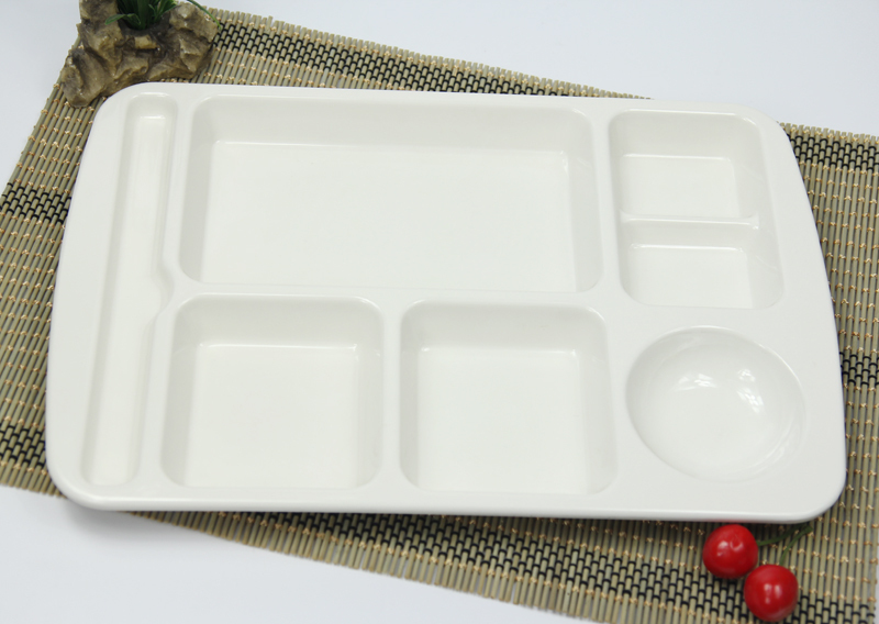 White Plastic Melamine Chinese Fast Food Tray Plate Lunch