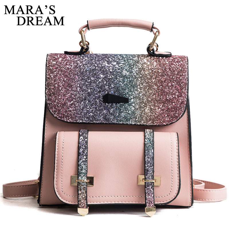 Maras Dream PU Leather Women Back pack 2018 Fashion Backpack Sequins Small Backpacks For Girls Gold Bag Female BagpackMaras Dream PU Leather Women Back pack 2018 Fashion Backpack Sequins Small Backpacks For Girls Gold Bag Female Bagpack
