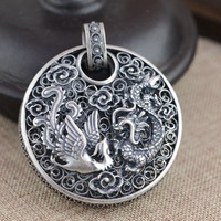 Sterling Silver Filigree pendants wholesale silver process female high end atmosphere longfengchengxiang Pendant NEW