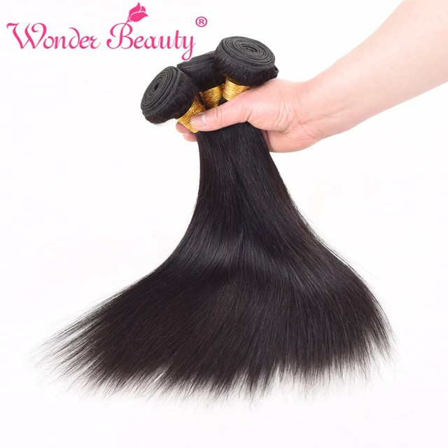 Wonder Beauty Straight 100 Indian Human Hair Weaves 3 Bundles Deal