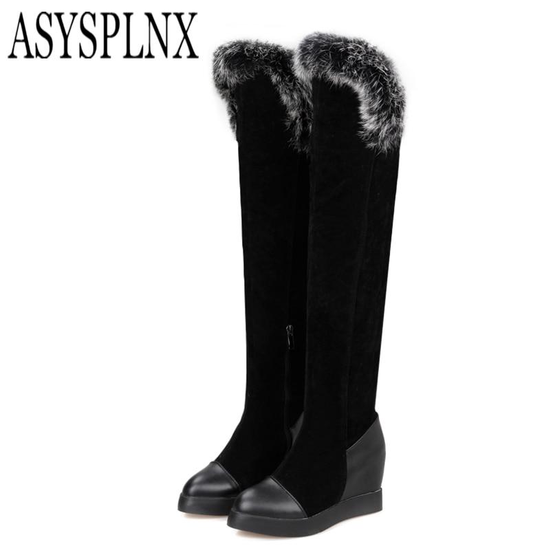 ФОТО ASYSPLNX nubuck Black wedge heel women thigh high martin boots,2016 Winter style fashion round toe over the knee ladies shoes