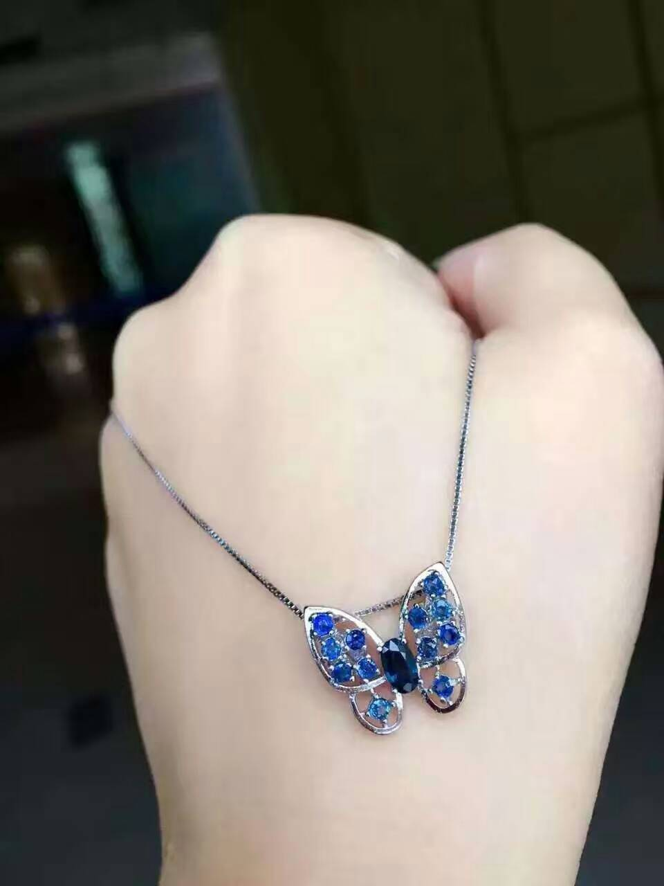 natural blue sapphire pendant S925 silver Natural gemstone Pendant Necklace trendy Elegant butterfly fly women party