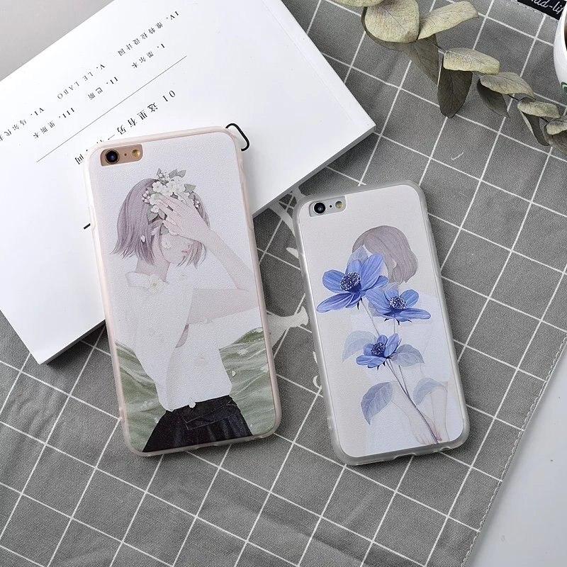 Link VIP Per Apple iphone 6 Caso Blue Flower Copertura Del Telefono protettiva Pretty Flower Ragazze Custodie per iPhone 6 s 6 s 7 più
