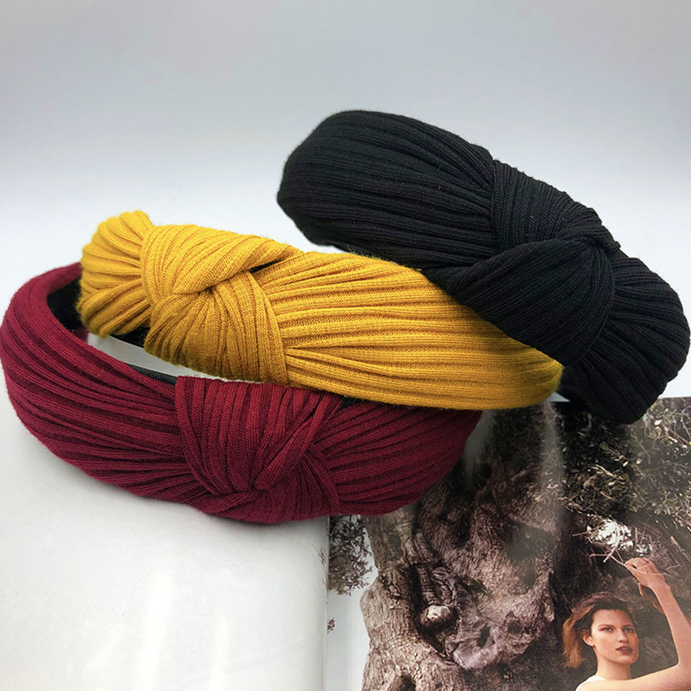 2019 New Fashion Women Girls Hairband Solid Headwrap Knot Headband Elegant   Headwear   Elastic Hair Accessories Birthday Gifts