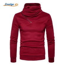 Covrlge Spring New Turtleneck Sweater Men's Fashion Zipper Neck Sweaters Male Solid Long Sleeve Pullover Casual Knitting MZL033