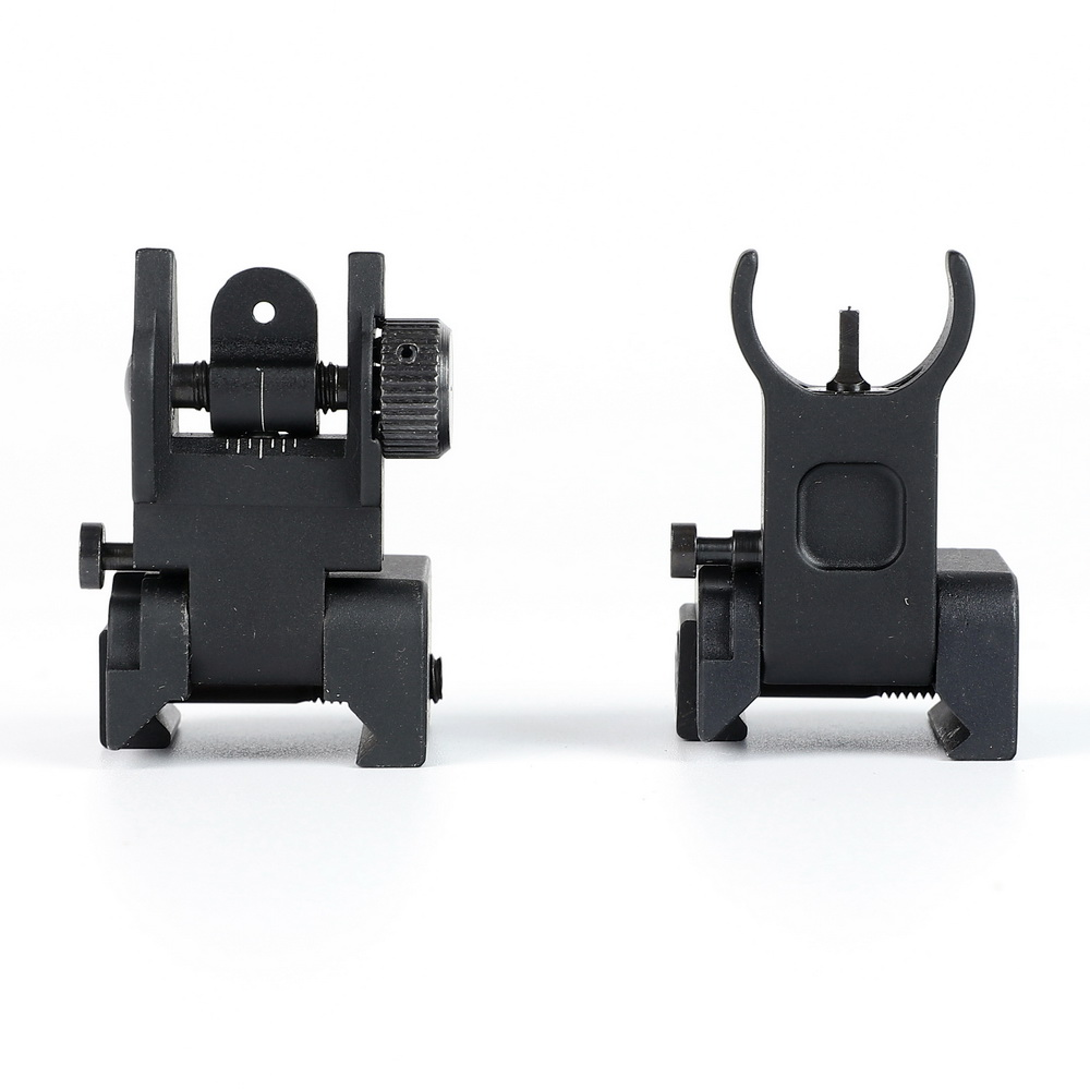 Tactical Quick Deploy Flip Up Low Profile Front And Rear Sight Set Standard Tactical AR-15 Flat-Top With Windage Adjustment