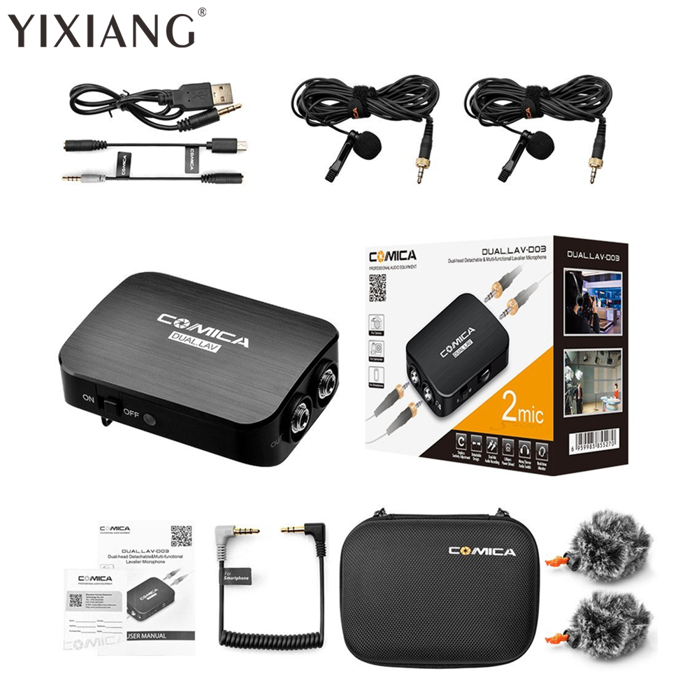 YIXIANG 48 UHF Channels Professional Omnidirectional Wireless Lavalier Microphone System for Canon Nikon Sony DSLR Camera saramonic sr wm4c wireless lavalier microphone system for canon 6d 600d 5d2 5d3 nikon d800 sony dv dslr camcorders
