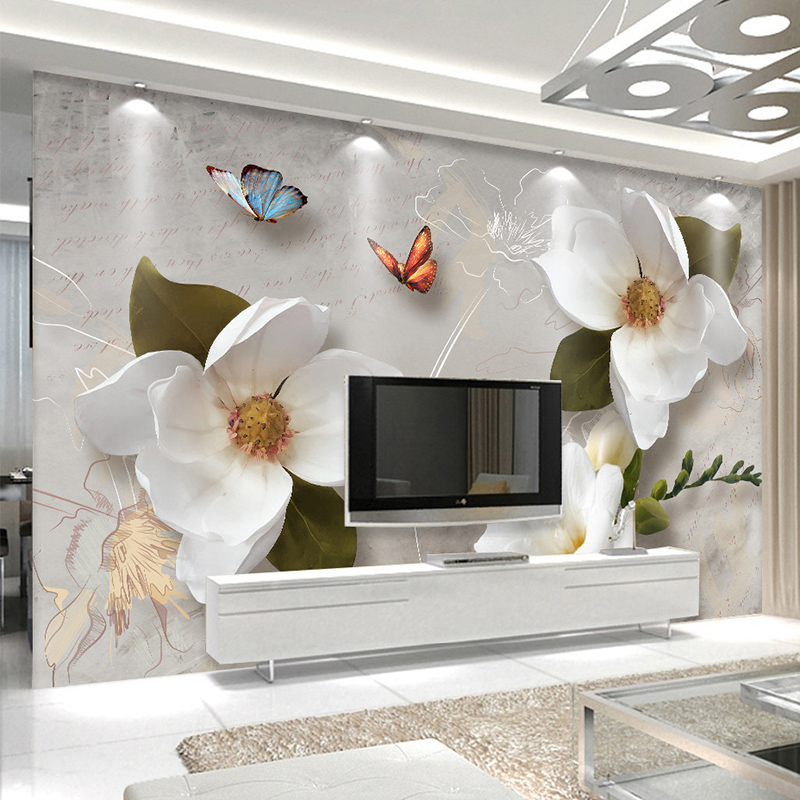 Custom Mural Wallpaper 3D Stereo Relief Flowers Butterfly Fresco Modern Simple Living Room TV Sofa Background Wall Paper For 3 D large decorative painting flowers 3d mural wallpaper for bedroom living room sofa relief tv background wall