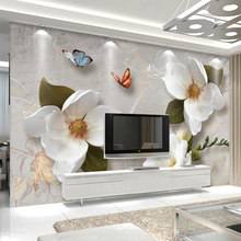 Papel pintado Mural personalizado 3D estéreo relieve flores mariposa Fresco moderno Simple sala de estar TV sofá papel de pared para 3 D(China)