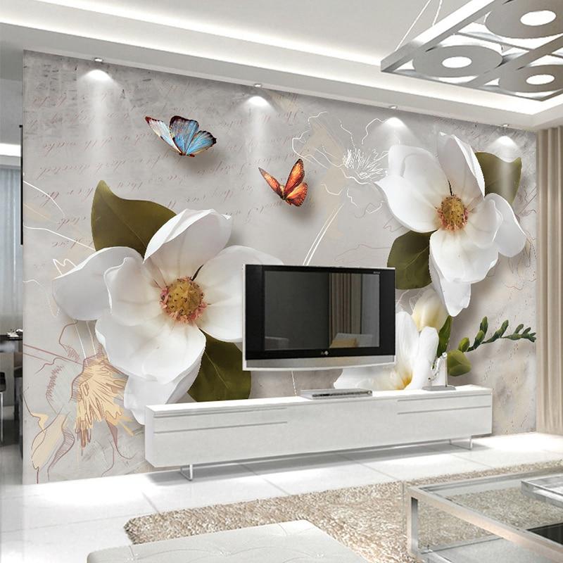 nach wandbild tapete 3d stereo relief blumen schmetterling fresko moderne einfache wohnzimmer tv. Black Bedroom Furniture Sets. Home Design Ideas
