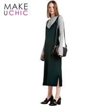 MAKEUCHIC Apparel Solid Color Women Sweater Dress Sexy Side Split V-Neck Female Vestidos Casual Loose Cami Strap Midi De Festa
