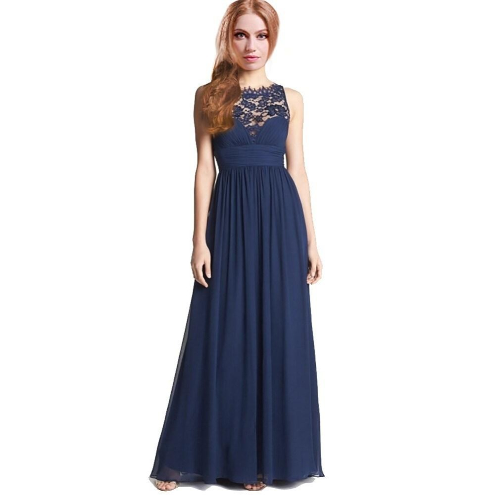 Navy blue chiffon junior girls bridesmaid dresses with lace neck navy blue chiffon junior girls bridesmaid dresses with lace neck ruffle chiffon zipper floor length long party dress 2015 in evening dresses from weddings ombrellifo Choice Image