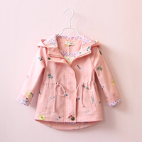 Girls Jacket Spring Autumn Hooded Windbreaker Embroidered Drawstring Coat For 3 To 7 Years Kids Children