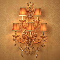 Indoor Wall Sconces Large Crystal Wall Lamp with Fabric Shade Gold Wall Lights Sconce Large Wall Lamp Hotel Corridor Lights