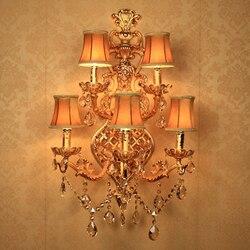 Kryty kinkiety ścienne duży kryształ ścienny z abażurem z tkaniny złoty kinkiet kinkiet duża ściana lampy hotelu korytarz światła