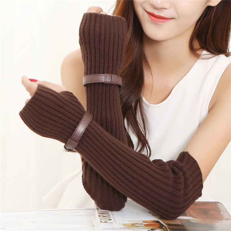 Autumn Winter 45cm Women's Arm Warmers Knitted Arm Sleeve Solid Superfine Long Knitted Fingerless Gloves With Decorative Strips