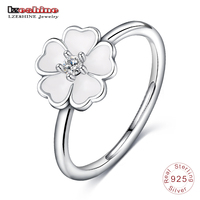 LZESHINE Authentic 925 Sterling Silver Ring White Enamel Flower Finger Rings Fashion Silver Jewelry PSRI0036 B