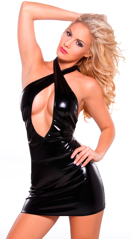 Buy 2017 New Tight-fitting Sexy Leather Bodycon Dress Slim Wet Look Fetish Bondage Vinyl Black PVC Latex Dress M-XL