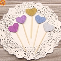2016New!25PCS Lovely Heart Cupcake Toppers Birthday Cakes Topper Picks Kids Birthday/Wedding Festival Party Decoration Supplies
