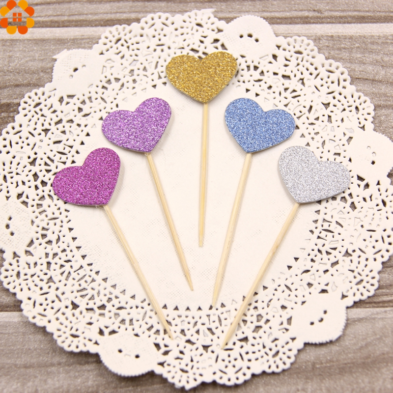 New 25pcs lovely heart cupcake toppers birthday cakes for New home cupcake decorations