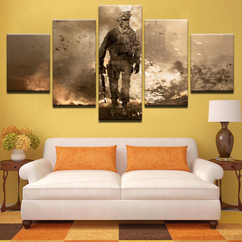 Canvas HD Prints Pictures Living Room Home Decor 5 Pieces Flame Battlefield Soldiers Armed Paintings Wall Art Posters Framework